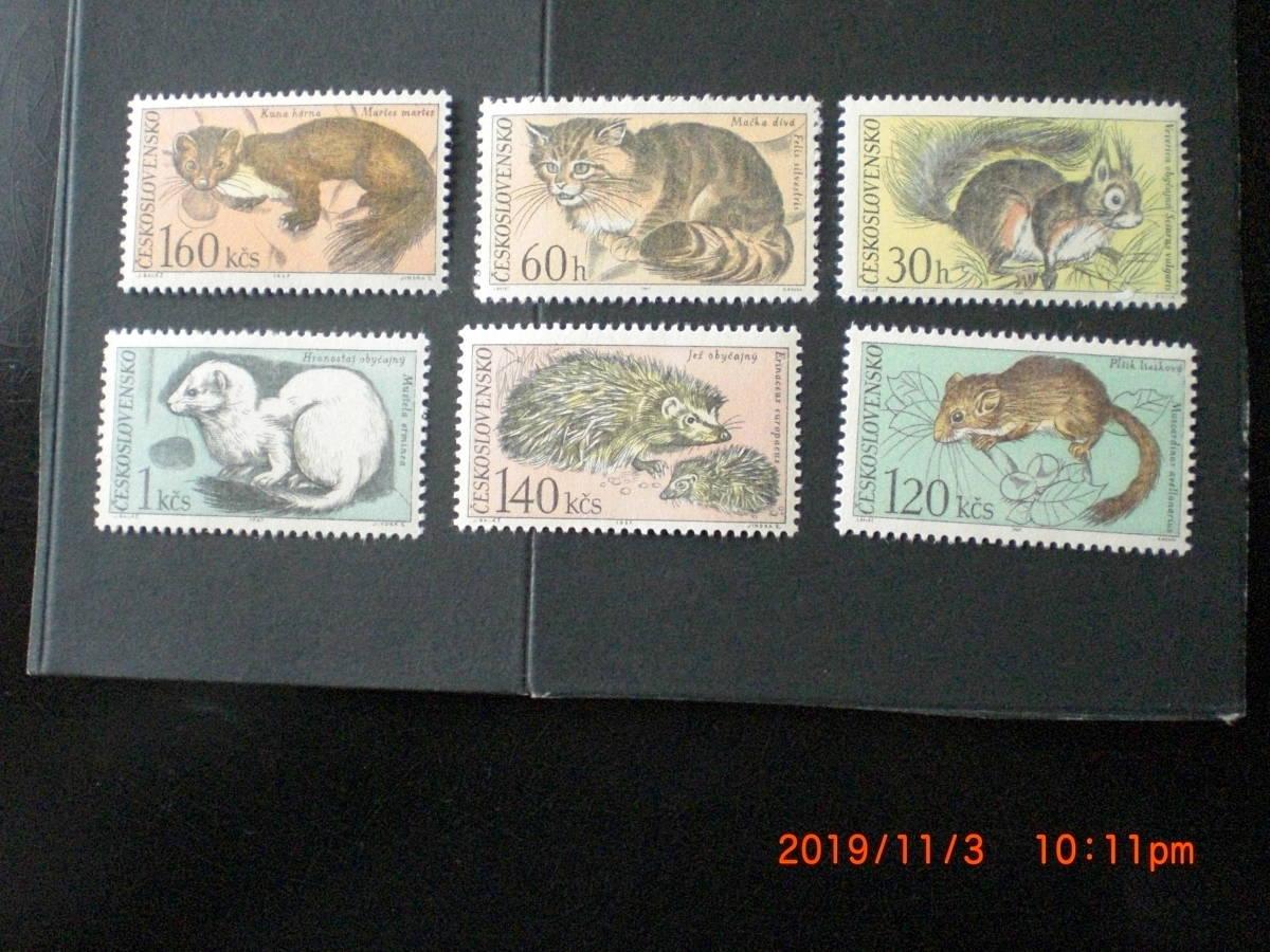 タトラ山の小動物ーやまね他 6種完 未使用 1967年 チェコスロヴァキア共和国 VF/NH_画像1