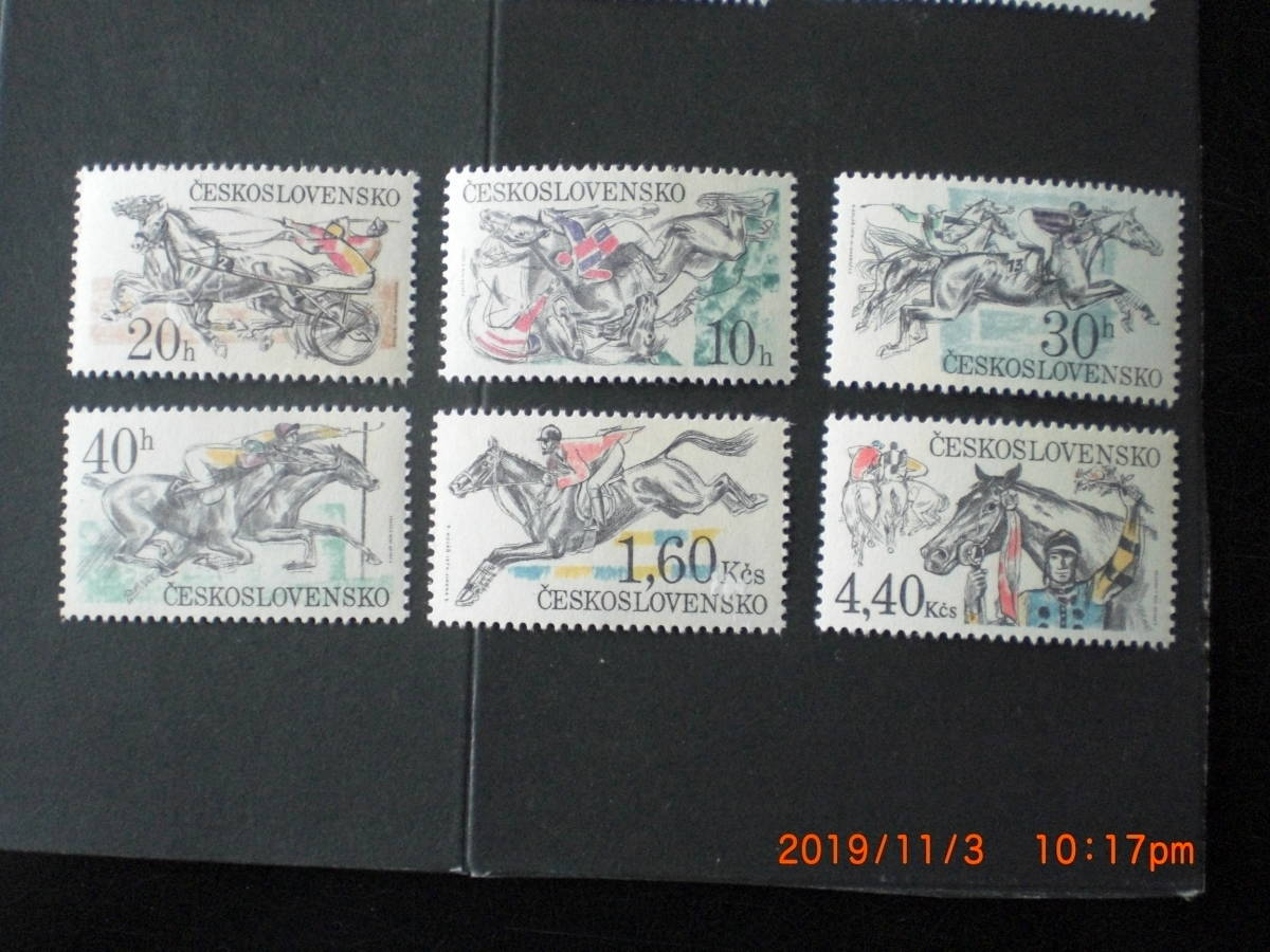 障害物競馬 6種完 未使用 1978年 チェコスロヴァキア共和国 VF/NH_画像1