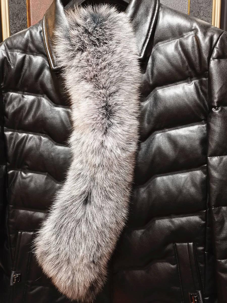 新品/最高級◆イタリア・ミラノ*BOLINI/ボリニ*ブラックライン豪華FOXファー付 PUレザー*グースダウンジャケット/コート・50_画像9