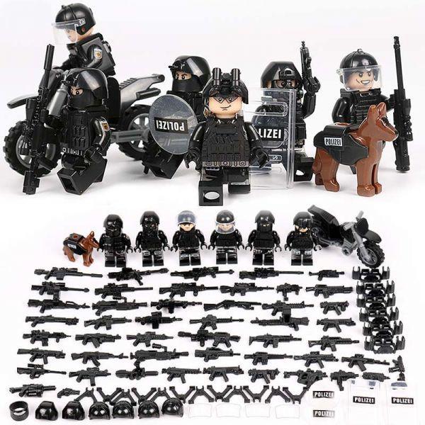 MOC LEGO レゴ ブロック 互換 SWAT 特殊部隊 アンチテロ部隊 カスタム ミニフィグ 6体セット 大量武器・装備・兵器付き D225_画像1