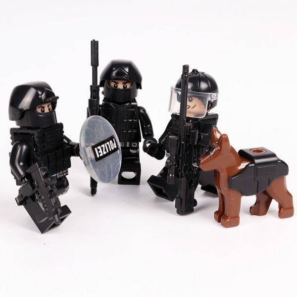 MOC LEGO レゴ ブロック 互換 SWAT 特殊部隊 アンチテロ部隊 カスタム ミニフィグ 6体セット 大量武器・装備・兵器付き D225_画像5