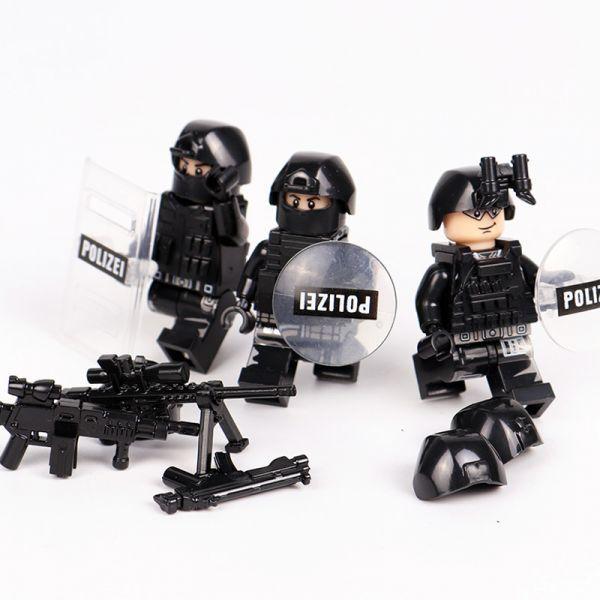 MOC LEGO レゴ ブロック 互換 SWAT 特殊部隊 アンチテロ部隊 カスタム ミニフィグ 6体セット 大量武器・装備・兵器付き D225_画像6