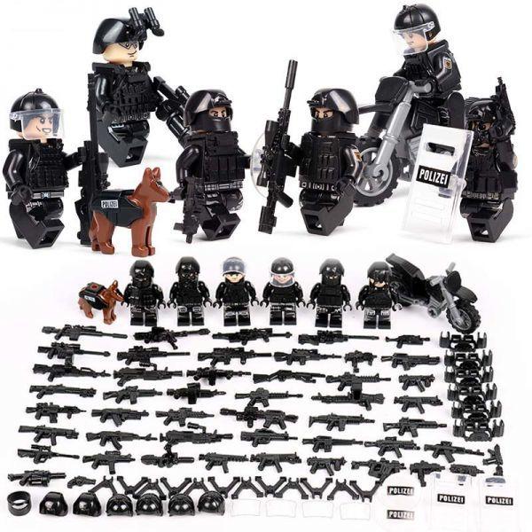 MOC LEGO レゴ ブロック 互換 SWAT 特殊部隊 アンチテロ部隊 カスタム ミニフィグ 6体セット 大量武器・装備・兵器付き D225_画像2