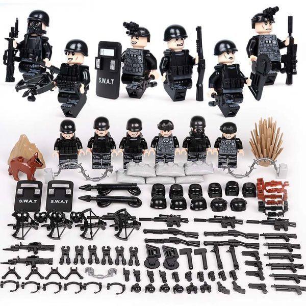 MOC LEGO レゴ ブロック 互換 SWAT 特殊部隊 アンチテロ部隊 カスタム ミニフィグ 6体セット 大量武器・装備・兵器付き D219_画像1