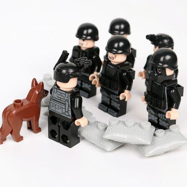 MOC LEGO レゴ ブロック 互換 SWAT 特殊部隊 アンチテロ部隊 カスタム ミニフィグ 6体セット 大量武器・装備・兵器付き D219_画像6