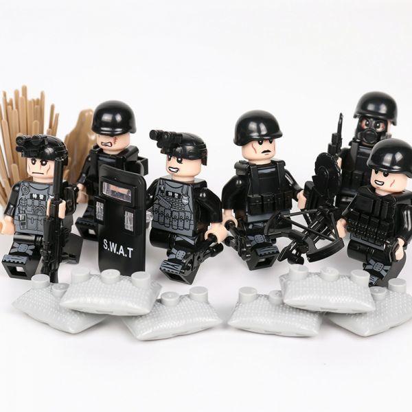 MOC LEGO レゴ ブロック 互換 SWAT 特殊部隊 アンチテロ部隊 カスタム ミニフィグ 6体セット 大量武器・装備・兵器付き D219_画像3