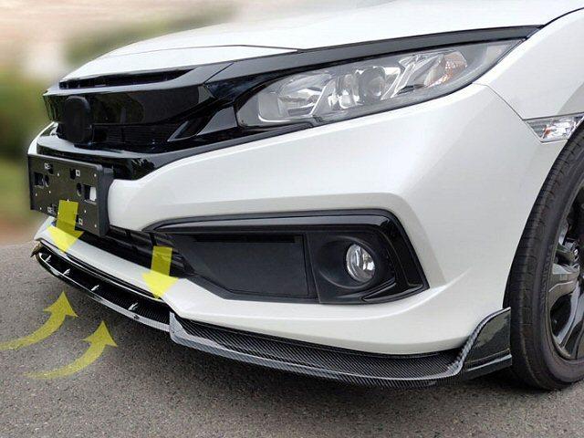 カーボン柄 ABS 3分割 組み立て 汎用 軽量 カナード 黒/ブラック/フロント スポイラー エアロ ワンオフ リップ 加工 Bタイプ シビック A_画像5