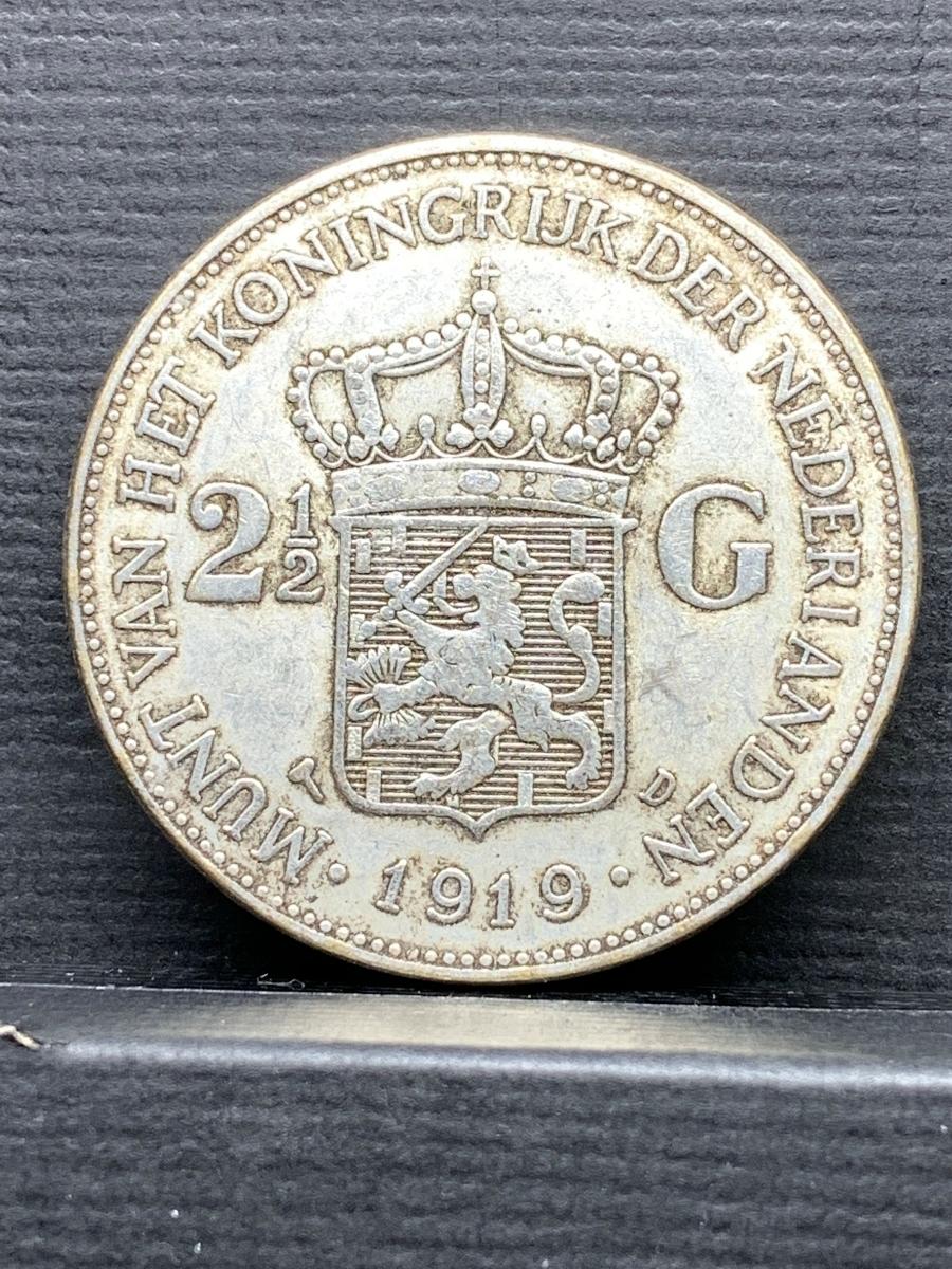Ωオランダ ウィルヘルミナ 2G Wilhelmina 1919 検)古銭硬貨貨幣銀貨系 レア記念 メダル レプリカ復刻 オメガコイン な18_画像2