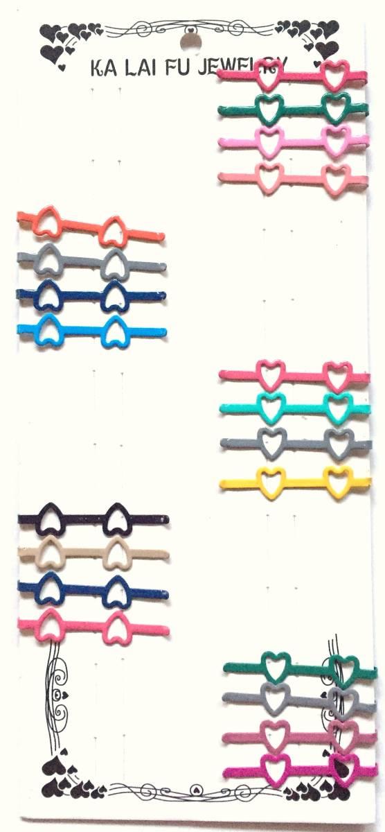 送料120円 新品&即決 かわいい ヘアピン 20個 セット/ハート/ピンク 赤 レッド 青 ブルー 緑 グリーン 黄色 イエロー グレー/髪どめ 女の子_画像1