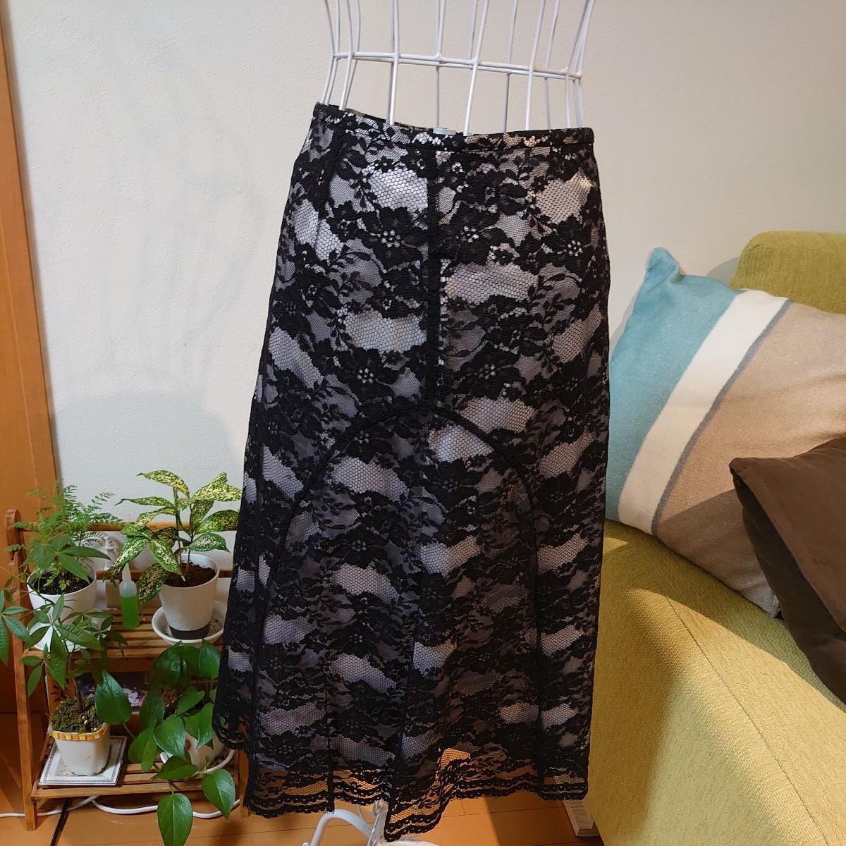 レース柄スカート 黒 38