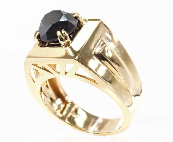 【極美】【定価200万】18金製 最高級 天然 ブラック ダイヤモンド リング 指輪《金特大・超輝き・重量感》(返品対応可 K18 YG Dia284-1-3