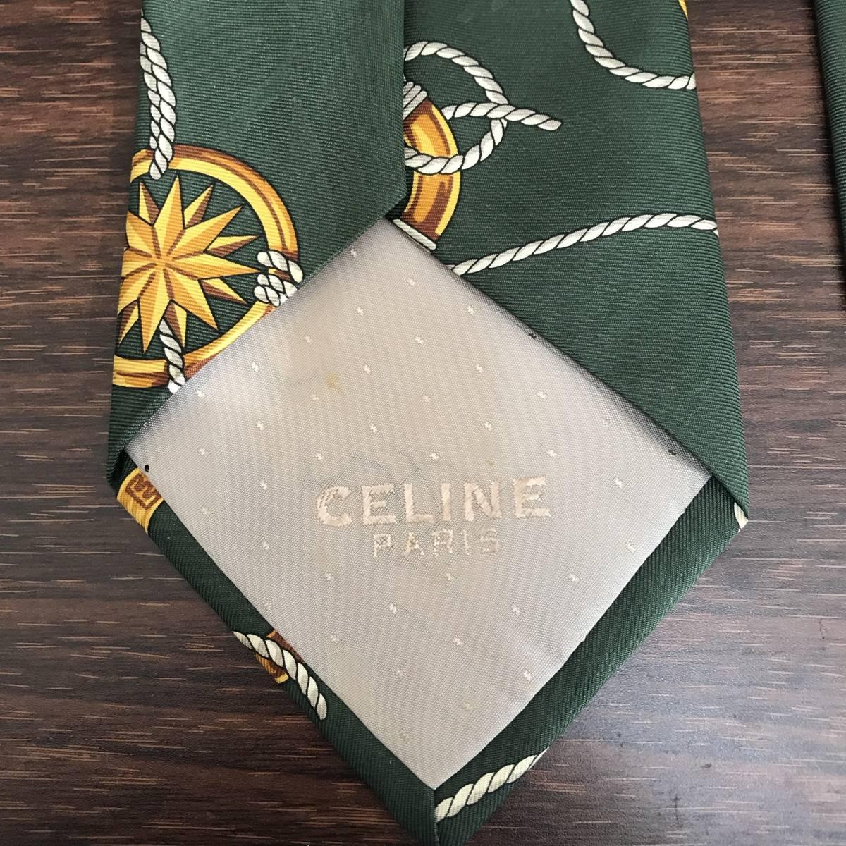 ☆1円スタート☆セリーヌ CELINE ネクタイ スペイン製 シルク100% グリーン系