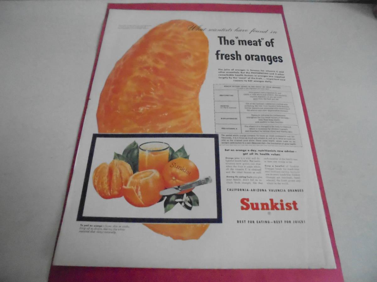 即決 広告 アドバタイジング 万年筆 ペン 文房具 1953年 サンキスト オレンジ レトロ アンティーク フィフティーズ 素材_画像2
