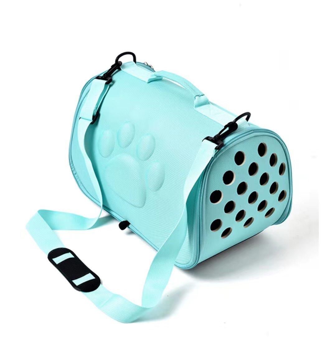ペットキャリーバッグ  ペットバッグ  小型犬 猫用 通気性抜群  折りたたみ  スリングバック  ライトブルー  未使用_画像1