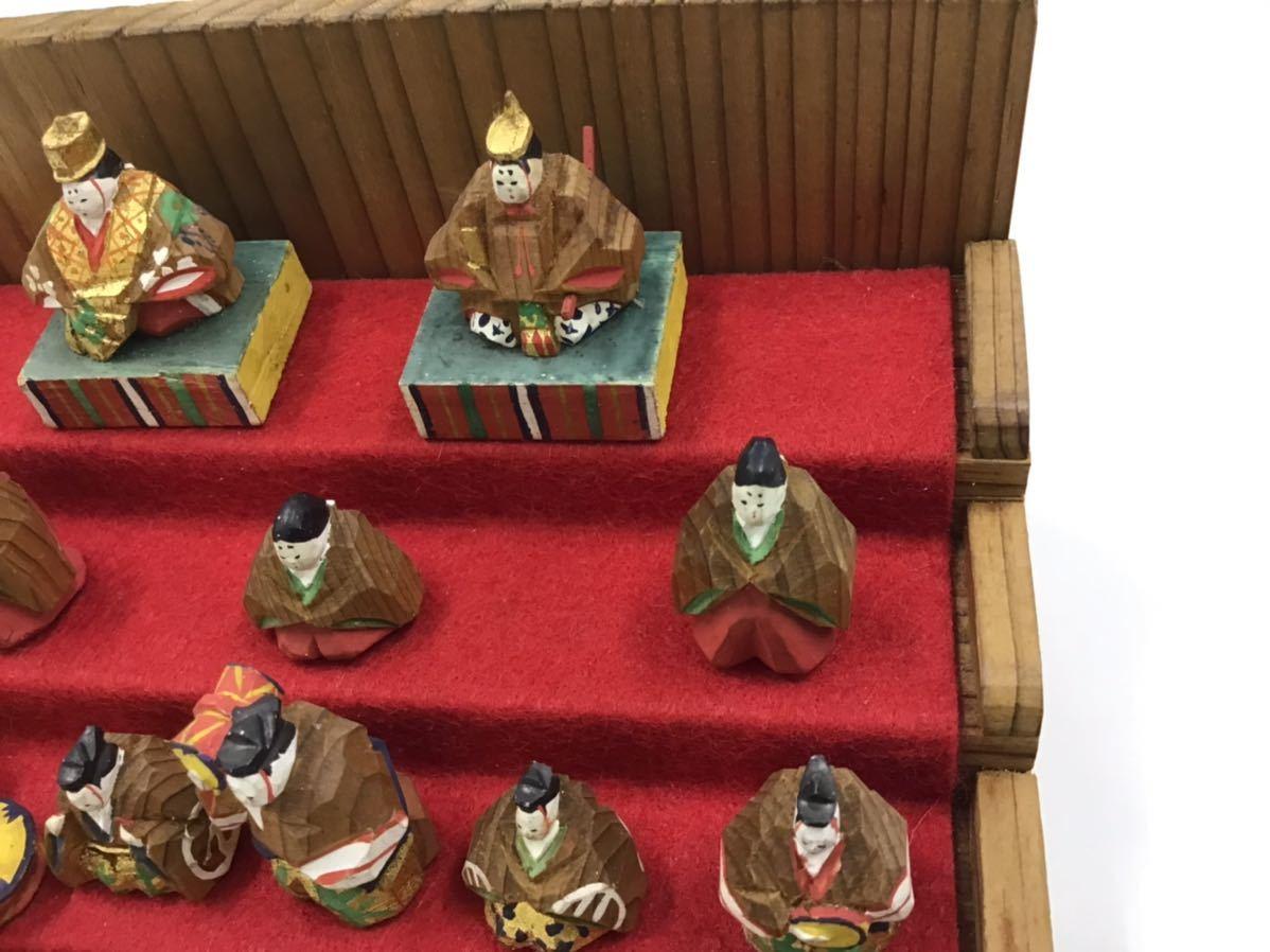 古い一刀彫★十五人揃いの雛人形★ガラスケース段付 豆雛 欠損なし 1.5cm_画像7