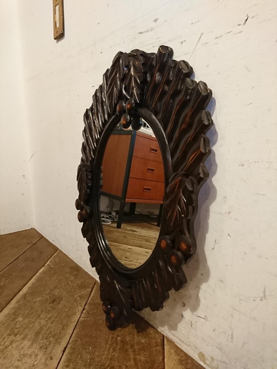 ビンテージ オーバル ウォールミラー A-347/木製フレーム 壁掛け鏡 レトロ モダン ビンテージ アンティーク調 ディスプレイ 姿見 店舗什器_画像1