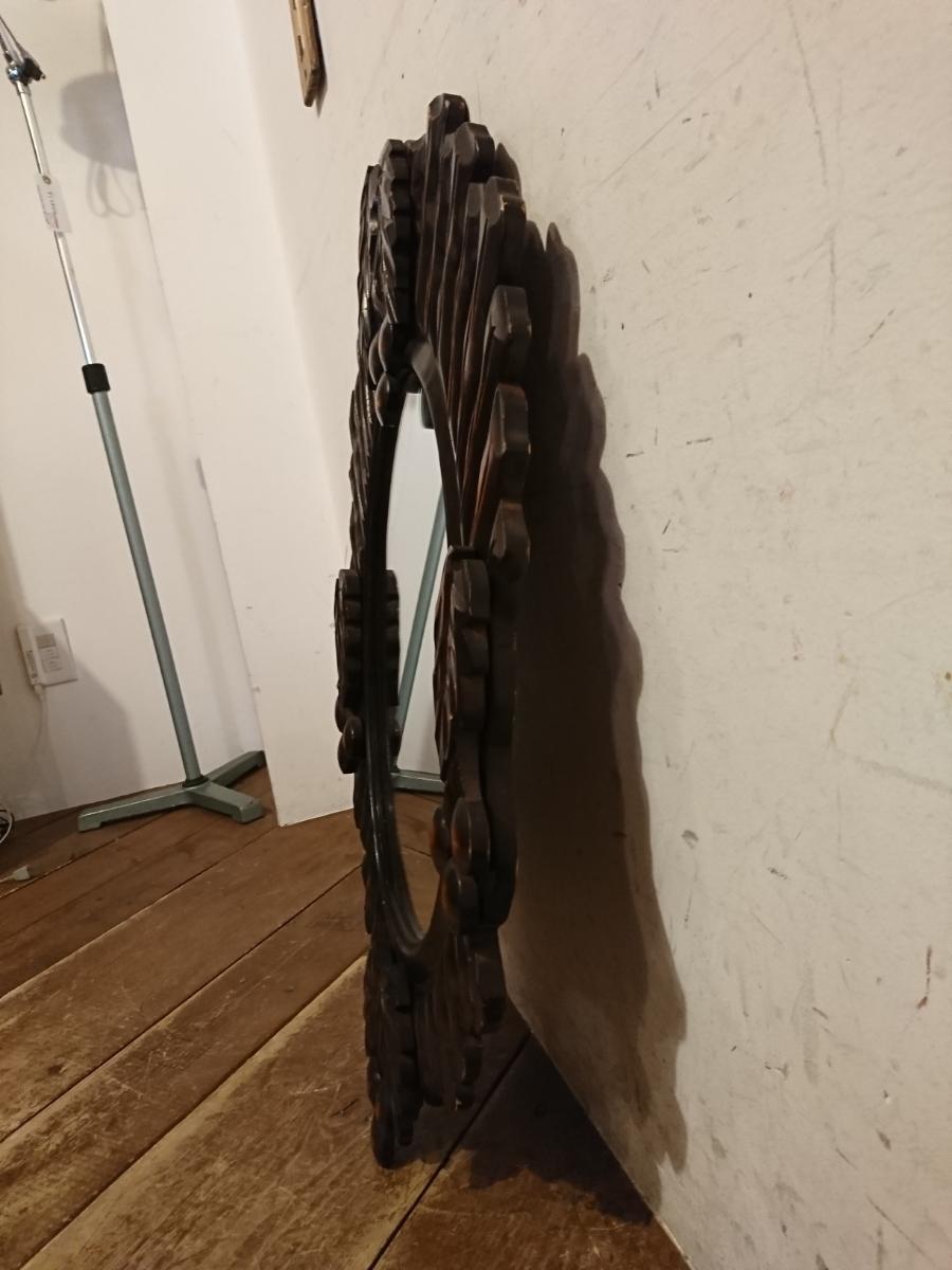 ビンテージ オーバル ウォールミラー A-347/木製フレーム 壁掛け鏡 レトロ モダン ビンテージ アンティーク調 ディスプレイ 姿見 店舗什器_画像4