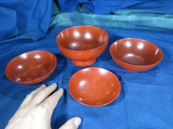 根来四つ碗 江戸時代初期~前期 漆工 塗り物 漆器 _画像1