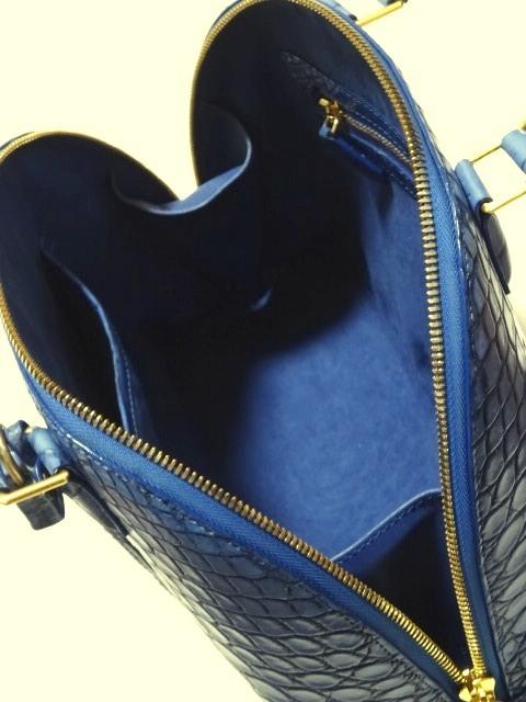送料無料! 即決【宝彩館】マットクロコダイル 目地染め ハンドバッグ ブルー/黒_画像5