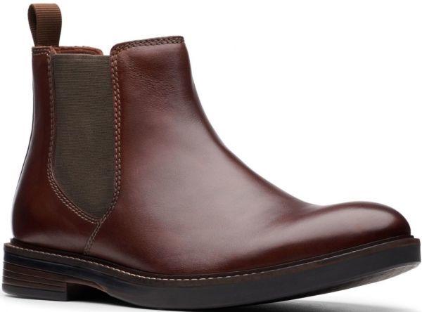 Clarks 27.5cm/10.5 サイドゴア ブーツ マホガニーブラウン プレーン ビジネス レザー 革 スーツ チェルシー スニーカー カジュアル H307_画像1