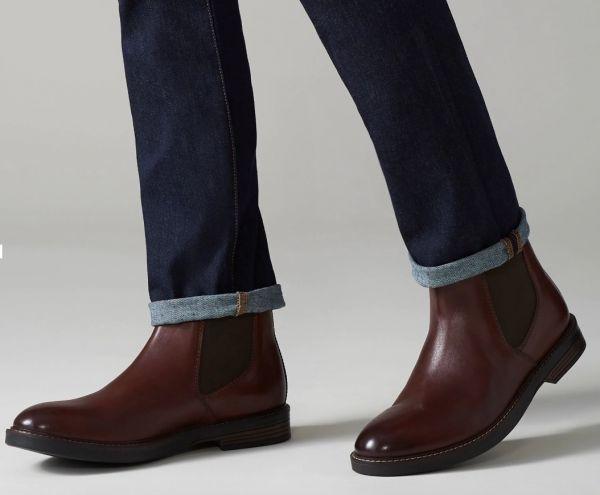 Clarks 27.5cm/10.5 サイドゴア ブーツ マホガニーブラウン プレーン ビジネス レザー 革 スーツ チェルシー スニーカー カジュアル H307_画像5