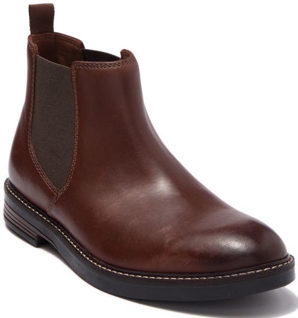 Clarks 27.5cm/10.5 サイドゴア ブーツ マホガニーブラウン プレーン ビジネス レザー 革 スーツ チェルシー スニーカー カジュアル H307_画像6
