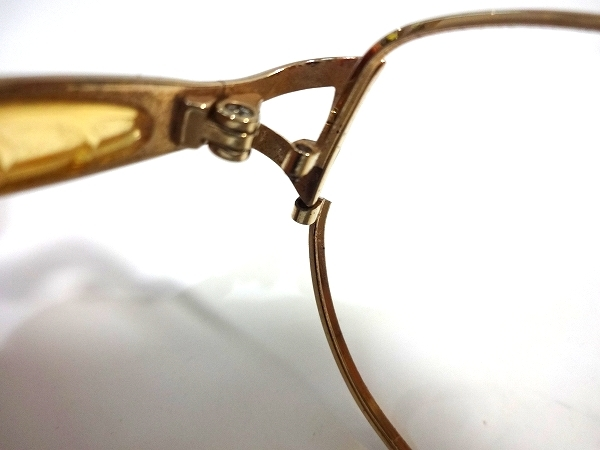 C9Y037■本物■ イヴサンローラン Yves Saint Laurent 日本製 ピュアチタン ゴールド色&ブラウンデミデザイン メガネ 眼鏡 メガネフレーム