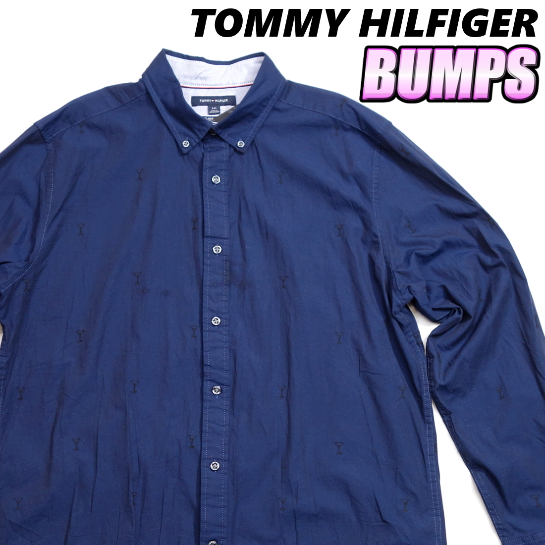 トミーヒルフィガー TOMMY パターンシャツ カクテルグラス柄シャツ 長袖 メンズ L ボタンダウン カジュアル USA直輸入 古着 MTH-3-5-0005_画像1