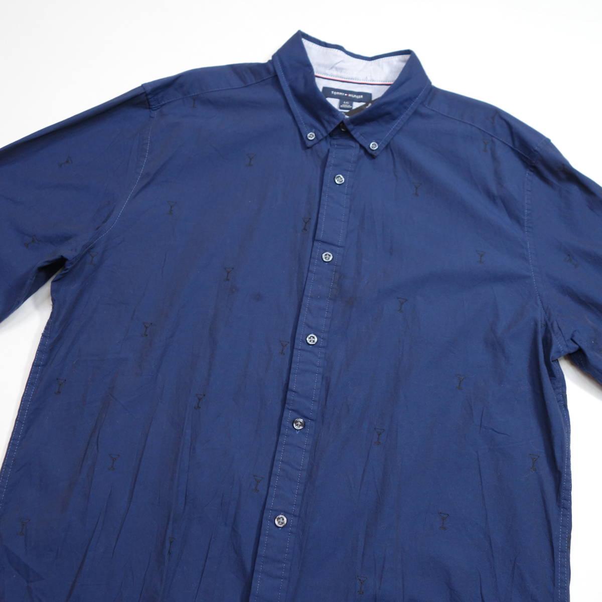トミーヒルフィガー TOMMY パターンシャツ カクテルグラス柄シャツ 長袖 メンズ L ボタンダウン カジュアル USA直輸入 古着 MTH-3-5-0005_画像3