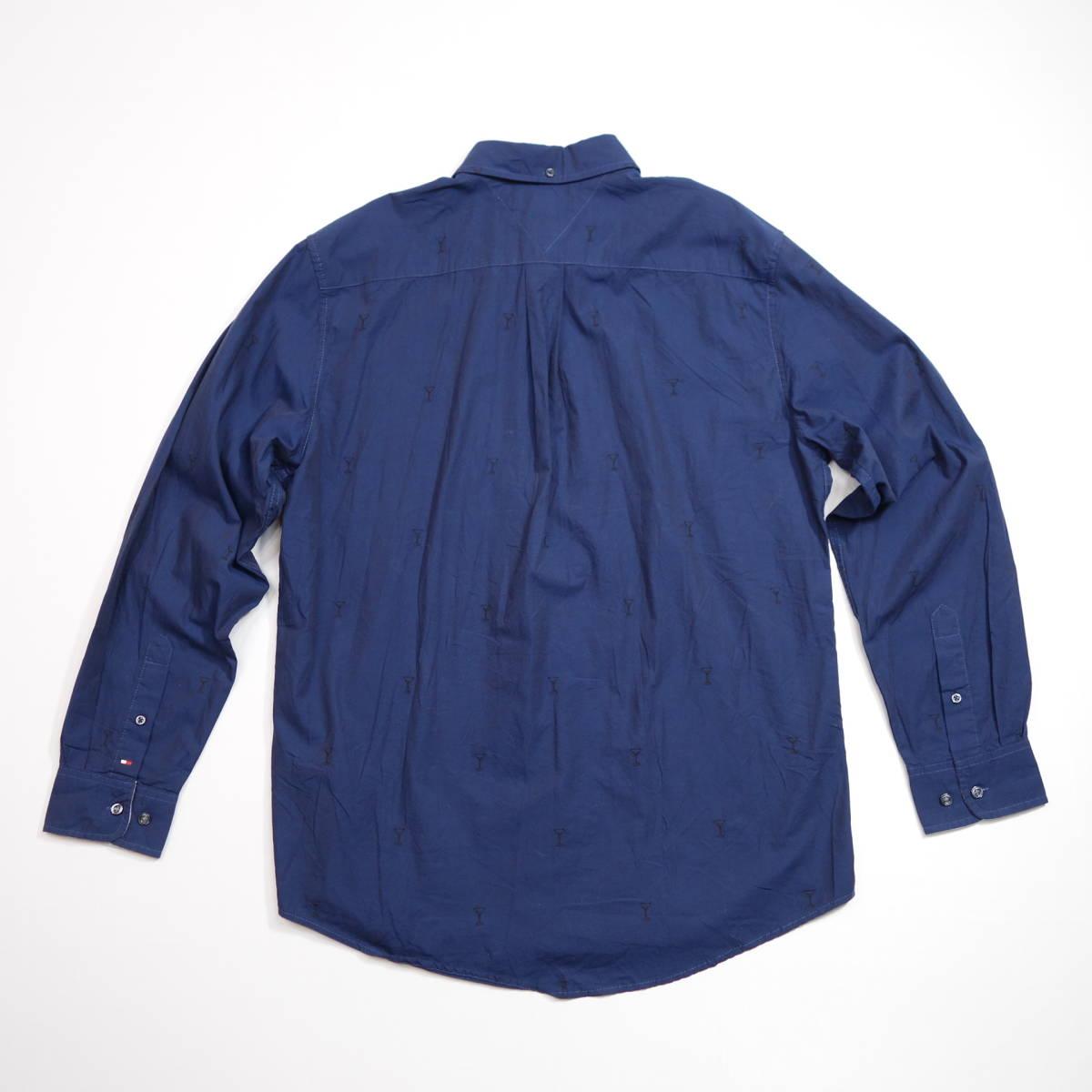 トミーヒルフィガー TOMMY パターンシャツ カクテルグラス柄シャツ 長袖 メンズ L ボタンダウン カジュアル USA直輸入 古着 MTH-3-5-0005_画像8