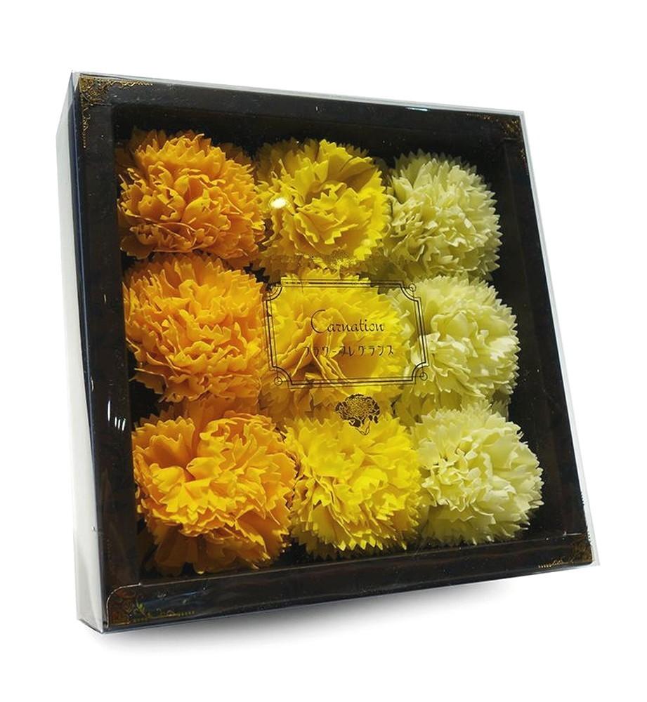 バスフレグランス カーネーション 【 イエロー 】 母の日 ギフトボックス入り 花の形の入浴剤 ソープフラワー ウエディング プレゼント_画像3