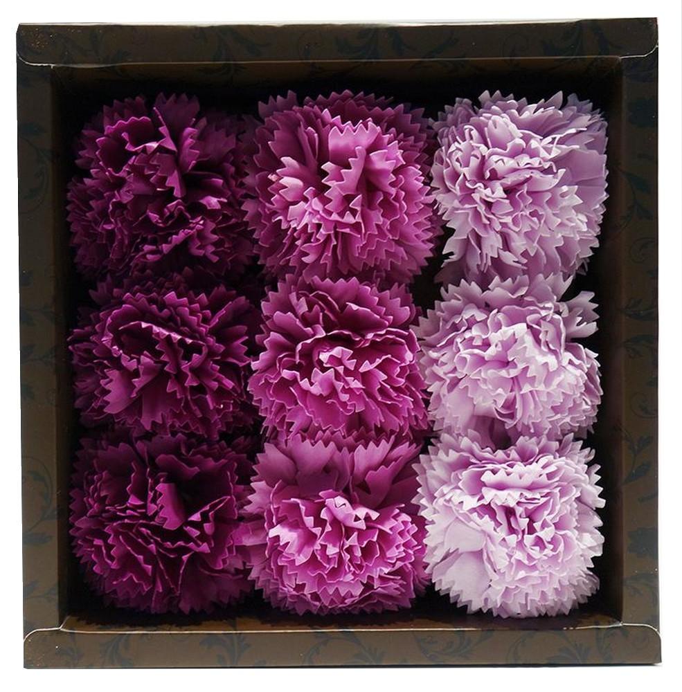 バスフレグランス カーネーション 【 パープル 】母の日 ギフトボックス入り 花の形の入浴剤 ソープフラワー ウエディング_画像1