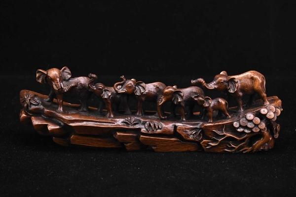 旧藏 小葉黄楊木 手工彫刻 太平有象 置物 賞物 擺件