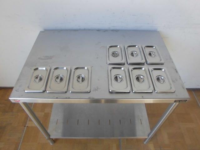 中古厨房 業務用 マルゼン ステンレス 作業台 調理台 BW-096N 蓋付ホテルパン 9個 スノコ板付 W900×D600×H800mm 台 棚 店舗_画像3