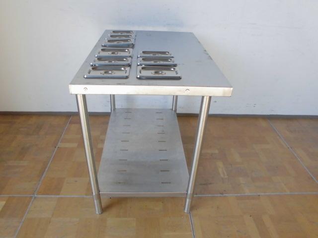 中古厨房 業務用 マルゼン ステンレス 作業台 調理台 BW-096N 蓋付ホテルパン 9個 スノコ板付 W900×D600×H800mm 台 棚 店舗_画像5
