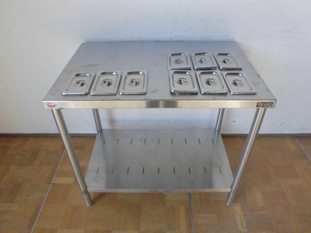 中古厨房 業務用 マルゼン ステンレス 作業台 調理台 BW-096N 蓋付ホテルパン 9個 スノコ板付 W900×D600×H800mm 台 棚 店舗_画像2