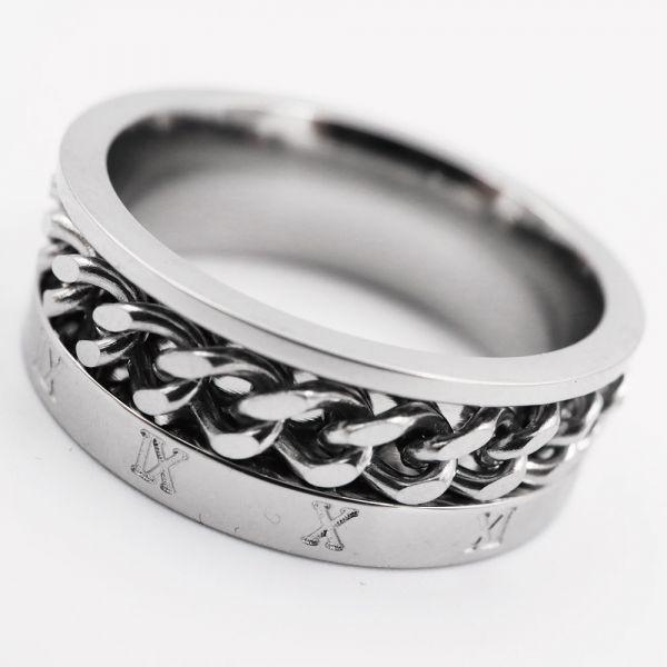Qroza 指輪 メンズ リング 喜平チェーン ローマ数字 360度回転 サージカルステンレス【16号/シルバー】_画像3