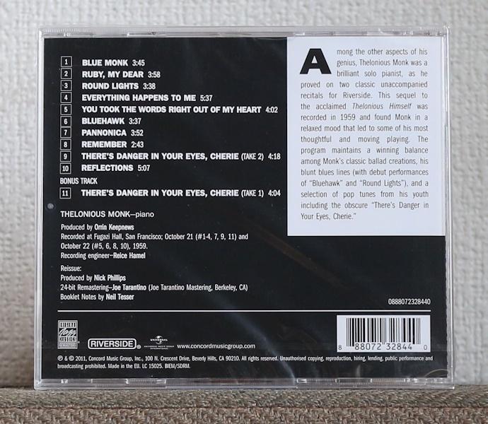 CD/JAZZ名盤/高音質リマスター/セロニアス・モンク/アローン・イン・サンフランシスコ/Thelonious Monk/Alone in San Francisco/Riverside_画像2