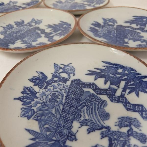アンティーク 明治~大正時代◆約22cm 平皿 5枚組★和食器_画像2