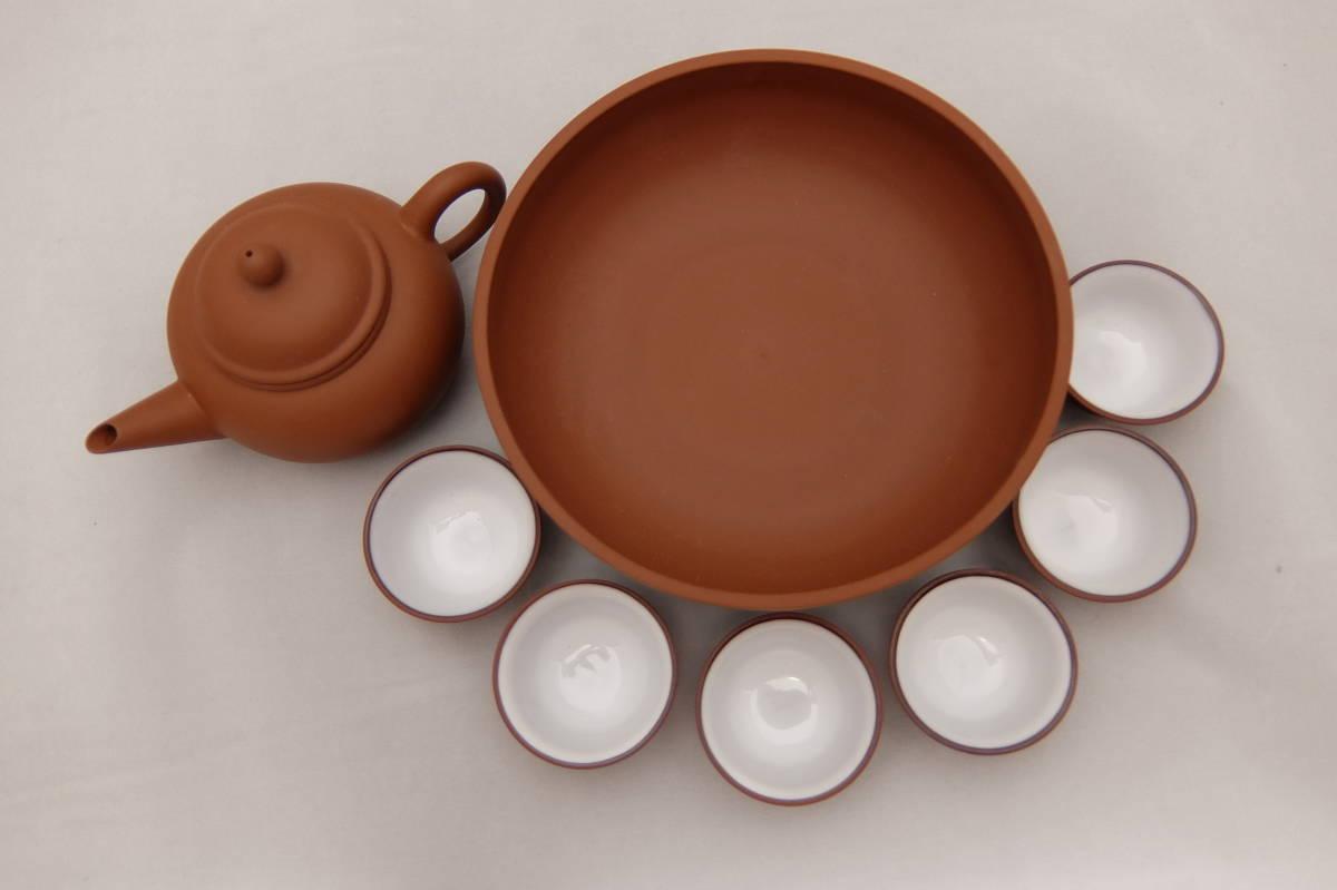 未使用 お茶の奈仁和園 茶器セット 急須と茶杯6個と茶船のセット 茶杯:直径5×高さ3cm 紫泥 朱泥 台湾 中国 茶具 茶器 お茶 道具 煎茶道具_画像3