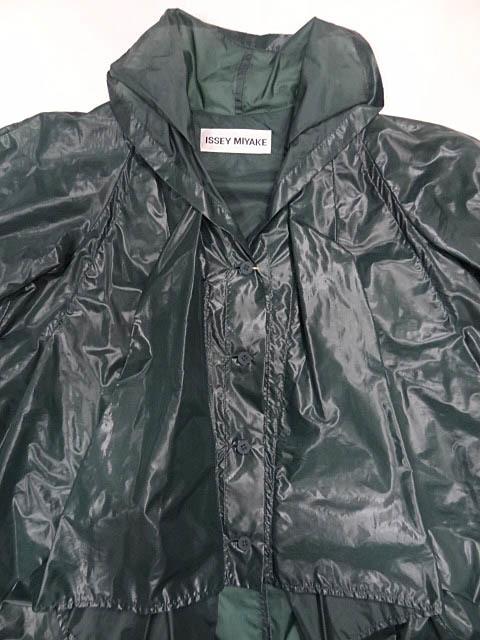 イッセイミヤケ ナイロン 緑 モスグリーン カラー パッカリング 変形 立体 シルエット Aライン コート 巾着 90S レア ポーチ ジャケット 2_画像3