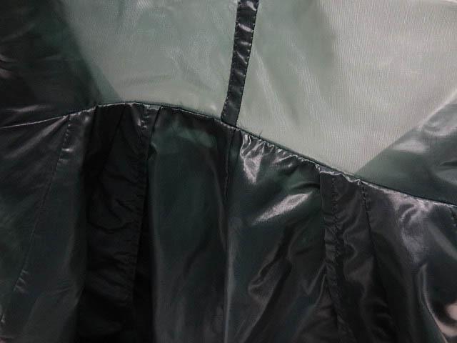 イッセイミヤケ ナイロン 緑 モスグリーン カラー パッカリング 変形 立体 シルエット Aライン コート 巾着 90S レア ポーチ ジャケット 2_画像9