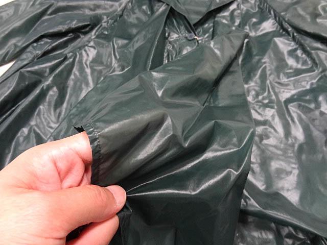 イッセイミヤケ ナイロン 緑 モスグリーン カラー パッカリング 変形 立体 シルエット Aライン コート 巾着 90S レア ポーチ ジャケット 2_画像10