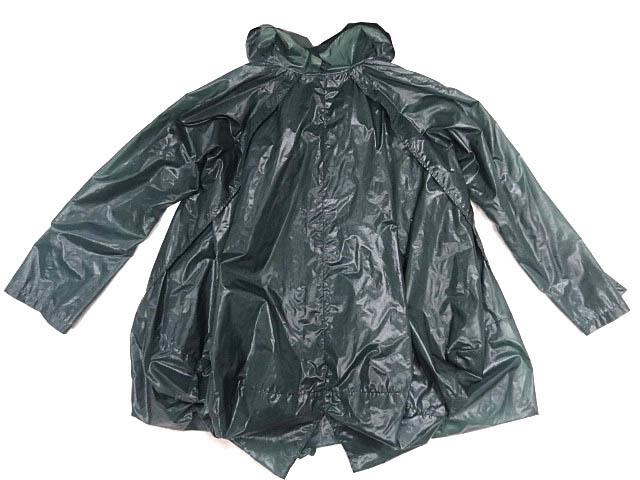 イッセイミヤケ ナイロン 緑 モスグリーン カラー パッカリング 変形 立体 シルエット Aライン コート 巾着 90S レア ポーチ ジャケット 2_画像2