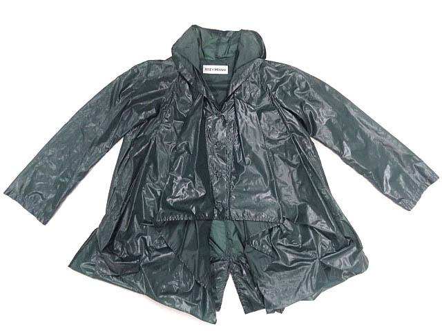 イッセイミヤケ ナイロン 緑 モスグリーン カラー パッカリング 変形 立体 シルエット Aライン コート 巾着 90S レア ポーチ ジャケット 2_画像1
