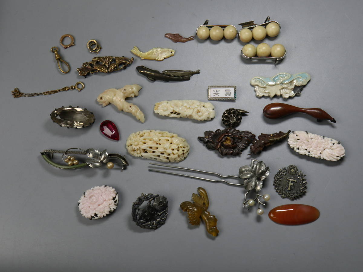 時代 アクセ?#21333;戛`の山 金具 珊瑚 宝石 金K18刻印 螺鈿 帯留め 根付 中国美術 和服小物 y1211