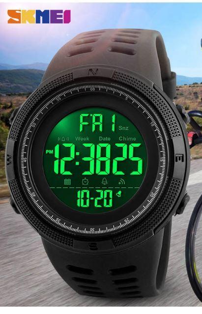 【SKMEI ファッション屋外スポーツ腕時計】メンズ多機能腕時計 アラーム時計 クロノ 5Bar 防水デジタル腕時計 A308_画像8