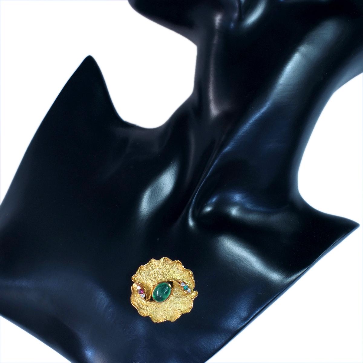 E9966 エメラルド2.92ct 天然ダイヤモンド0.10ct ルビー0.10ct 最高級18金無垢ブローチ 重量8.73g 幅34.0mm_画像5