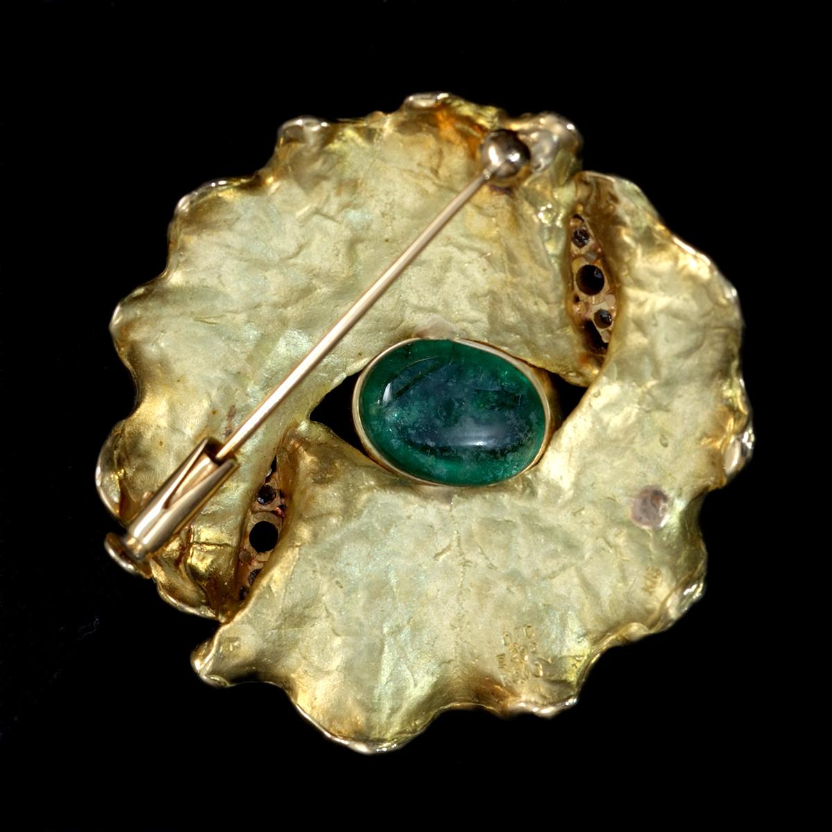 E9966 エメラルド2.92ct 天然ダイヤモンド0.10ct ルビー0.10ct 最高級18金無垢ブローチ 重量8.73g 幅34.0mm_画像4