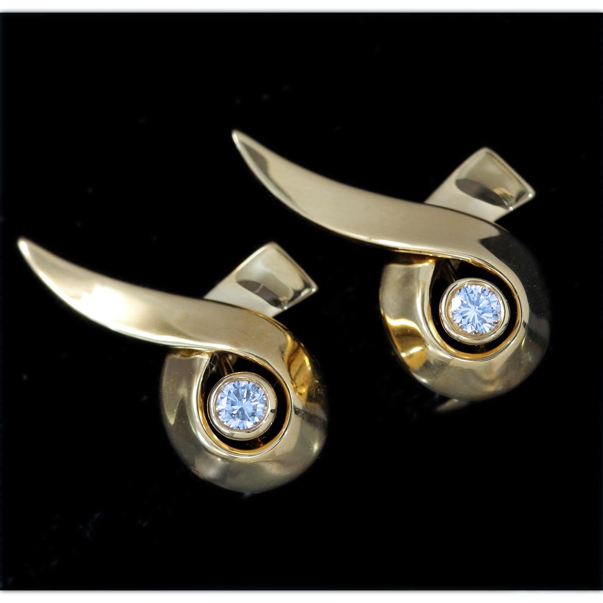 E9962【Tiffany&Co. 1837】ティファニー パロマピカソ 天然絶品ダイヤモンド2pcs 最高級18金無垢イヤリング 重量7.9g 幅13.6×23.3mm_画像1